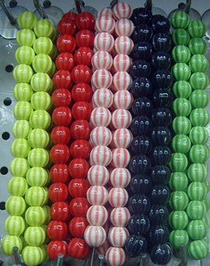Fluted & Colored Procelain Beads